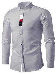 Long Sleeve Cover Placket Color Block Panel Shirt