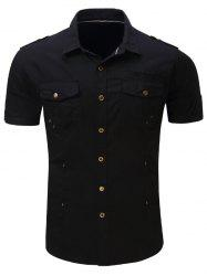 Short Sleeve Multi Pockets Epaulet Cargo Shirt