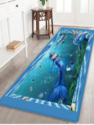 Mermaid Dolphin Pattern Anti-skid Water Absorption Area Rug