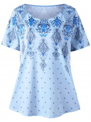 Scoop Neck Graphic Plus Size Tunic Top - Blue - 3xl