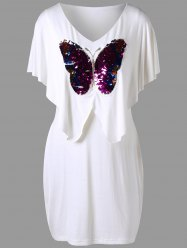 Plus Size Sequined Butterfly Overlay Dress