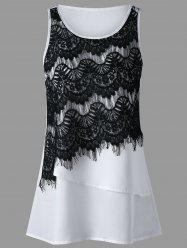 Eyelash Lace Insert Layered Sleeveless Blouse - White - Xl
