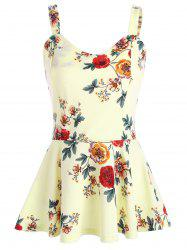 High Waist Backless Floral Peplum Tank Top - PALOMINO