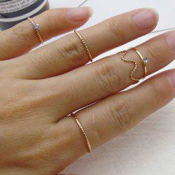 Rhinestone Alloy Circle Finger Ring Set - GOLDEN