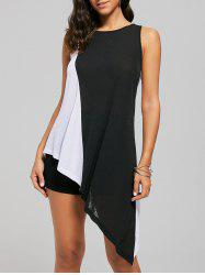 Colorblock Asymmetrical Tunic Top - WHITE AND BLACK