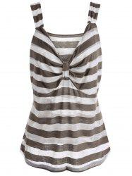 V Neck Sleeveless Stripe Plus Size Top - LIGHT KHAKI 3XL