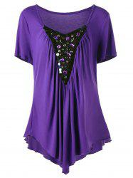 Plus Size Rhinestone Embellished Asymmetrical Top