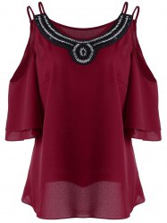 Plus Size Cold Shoulder Beads Embellished Blouse