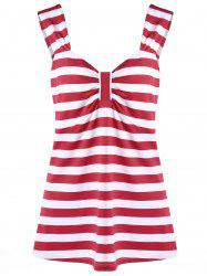 Plus Size Striped Bowknot Top - RED XL
