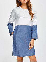 Long Sleeve Color Block Denim Tunic Dress