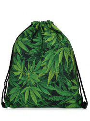 Print Nylon Drawstring Bag - GREEN