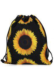 Print Nylon Drawstring Bag - YELLOW AND BLACK