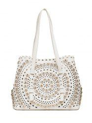 Rivet Hollow Out Shoulder Bag - WHITE