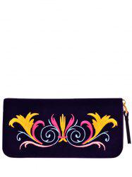 Embroidered Velvet Zip Around Wallet -