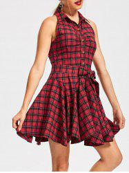Button Up Tartan Sleeveless Swing Shirt Dress -