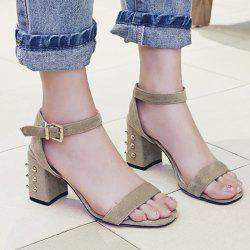 Studded Chunky Heel Two-Piece Sandals
