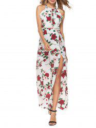 Backless Hollow Out High Split Floral Maxi Dress