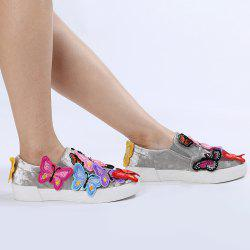 Round Toe Butterfly Slip On Sneakers - GRAY