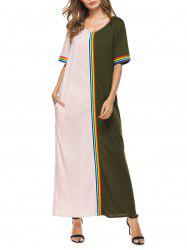 Stripes Ribbon Panel Pockets Maxi Dress