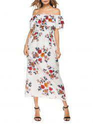 Floral Flounce Off The Shoulder Print Dress