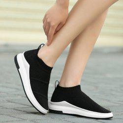 Breathable Striped Athletic Shoes - BLACK