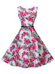 Retro Floral High Waist Swing Dress