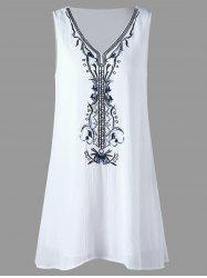 Bohemian Print Sleeveless Shift Dress - WHITE