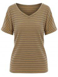 Stripe  V Neck Causal T-shirt