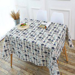 Kitchen Product Bottle Print Linen Table Cloth - GRAY