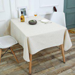 Kitchen Product Striped Pattern Linen Table Cloth - WHITE