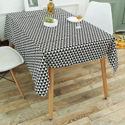 Geometry Print Linen Kitchen Dining Decor Tablecloth - BLACK WHITE