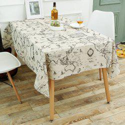 Kitchen Product World Map Print Linen Table Cloth - GRAY