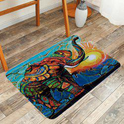 Antislip Colorful Elephant Print Bathroom Rug