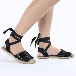 Mesh Lace Up Espadrilles - BLACK