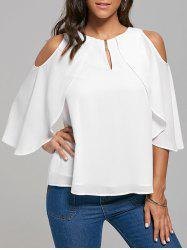 Keyhole Neck Capelet Cold Shoulder Blouse - WHITE