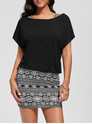 Graphic Tank Dress with Off The Shoulder T-shirt - BLACK