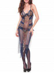 Lace See Thru Slip Long Babydoll Dress - CERULEAN