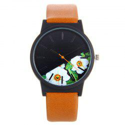Faux Leather Strap Flower Face Quartz Watch