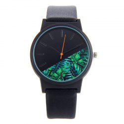 Tropical Leaf Face Faux Leather Strap Watch