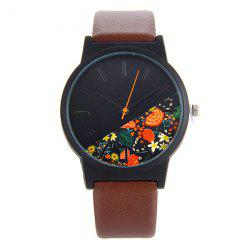 Faux Leather Quartz Watch With Flower Face
