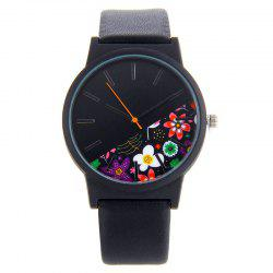 Floral Face Faux Leather Band Quartz Watch
