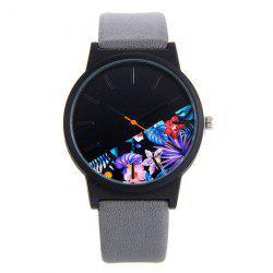 Faux Leather Band Quartz Watch with Flower Face