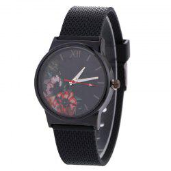 Floral Face Canvas Strap Quartz Watch - BLACK