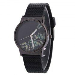 Tropical Leaf Face Canvas Strap Quartz Watch