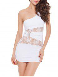 One Shoulder Bodycon Lace Insert Lingerie Dress
