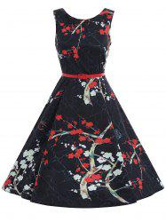 Print Plum Flower A Line Vintage Dress - BLACK