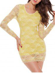 Lace Long Sleeve Babydoll Lingerie Dress