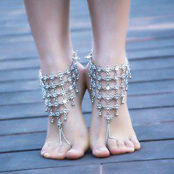 1PC Rhinestoned Chinese Knot Slave Anklet - SILVER