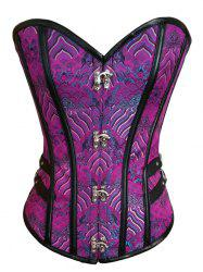 Brocade Lace Up Corset Top - PURPLE