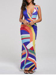 Plunging Neck High Waist Striped Mermaid Maxi Dress